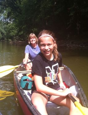 Abby & Tracy canoeing 2014