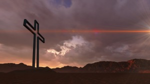 Wooden cross in night  made in 3d software